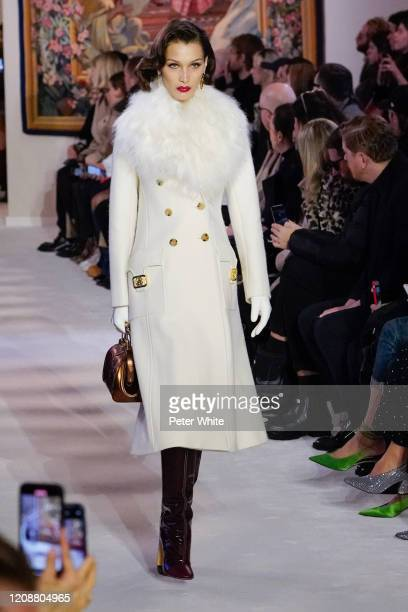 Bella Hadid walks the runway during the Lanvin show as part of the Paris Fashion Week Womenswear Fall/Winter 2020/2021 on February 26, 2020 in Paris,...