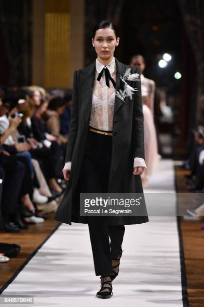 Bella Hadid walks the runway during the Lanvin show as part of the Paris Fashion Week Womenswear Fall/Winter 2017/2018 on March 1 2017 in Paris France