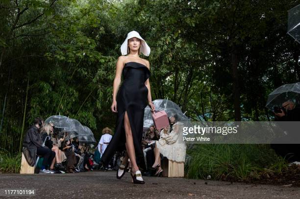 Bella Hadid walks the runway during the Lanvin Womenswear Spring/Summer 2020 show as part of Paris Fashion Week on September 25, 2019 in Paris,...