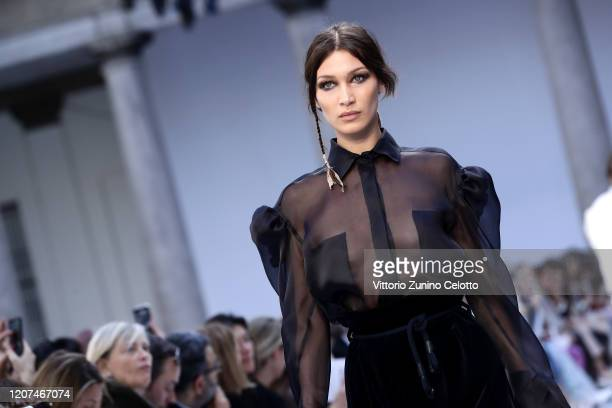 Bella Hadid walks the runway during the Max Mara fashion show as part of Milan Fashion Week Fall/Winter 2020-2021 on February 20, 2020 in Milan,...