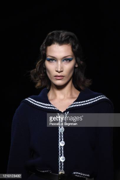 Bella Hadid walks the runway during the Miu Miu as part of the Paris Fashion Week Womenswear Fall/Winter 2020/2021 on March 03, 2020 in Paris, France.