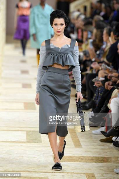 Bella Hadid walks the runway during the Miu Miu Womenswear Spring/Summer 2020 show as part of Paris Fashion Week on October 01 2019 in Paris France