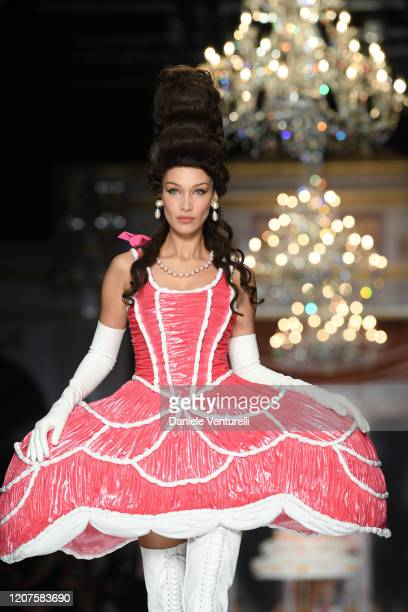 Bella Hadid walks the runway during the Moschino fashion show as part of Milan Fashion Week Fall/Winter 2020-2021 on February 20, 2020 in Milan,...