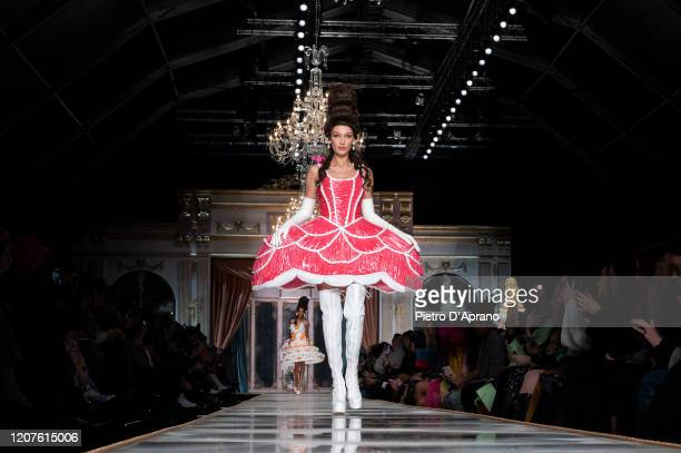 Bella Hadid walks the runway during the Moschino fashion show as part of Milan Fashion Week Fall/Winter 20202021 on February 20 2020 in Milan Italy