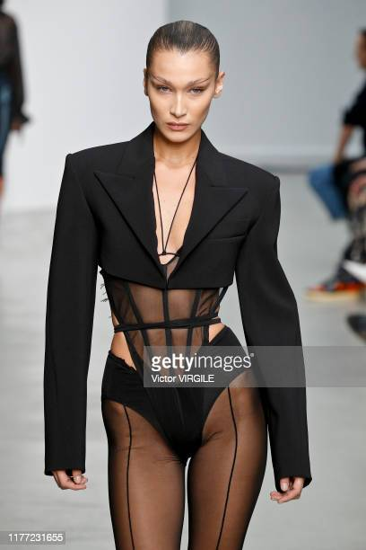 Bella Hadid walks the runway during the Mugler Ready to Wear Spring/Summer 2020 fashion show as part of Paris Fashion Week on September 25, 2019 in...