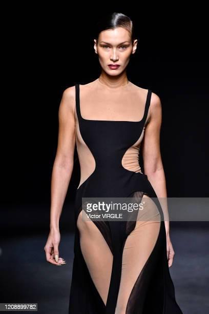 Bella Hadid walks the runway during the Mugler Ready to Wear fashion show as part of the Paris Fashion Week Womenswear Fall/Winter 2020/2021 on...