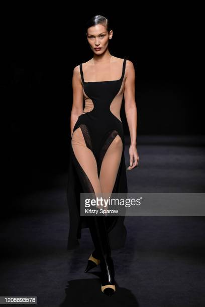 Bella Hadid walks the runway during the Mugler show as part of Paris Fashion Week Womenswear Fall/Winter 2020/2021 on February 26, 2020 in Paris,...
