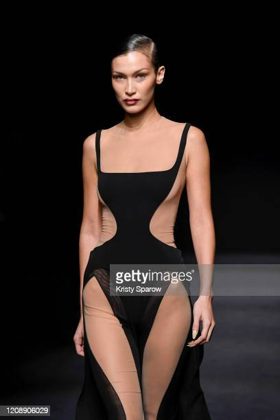 Bella Hadid walks the runway during the Mugler show as part of Paris Fashion Week Womenswear Fall/Winter 2020/2021 on February 26 2020 in Paris France
