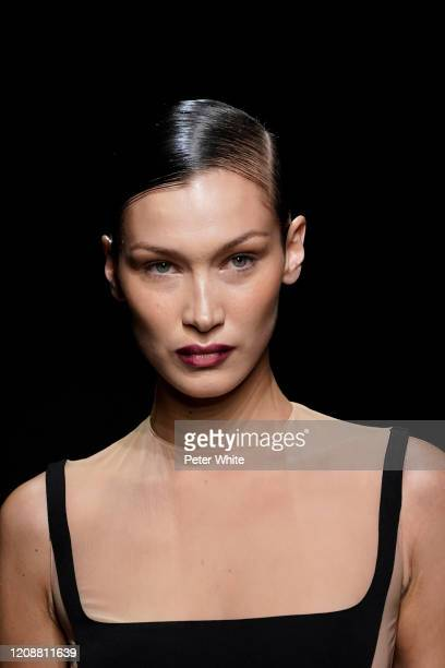 Bella Hadid walks the runway during the Mugler show as part of the Paris Fashion Week Womenswear Fall/Winter 2020/2021 on February 26, 2020 in Paris,...