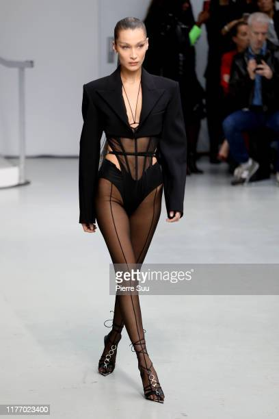 Bella Hadid walks the runway during the Mugler Womenswear Spring/Summer 2020 show as part of Paris Fashion Week on September 25 2019 in Paris France