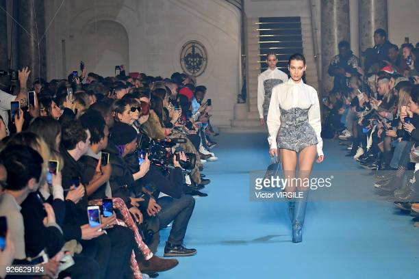Bella Hadid walks the runway during the OffWhite Ready to Wear Fall/Winter 20182019 fashion show as part of the Paris Fashion Week Womenswear...