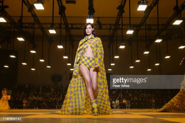 Bella Hadid walks the runway during the OffWhite show as part of the Paris Fashion Week Womenswear Fall/Winter 2019/2020 on February 28 2019 in Paris...