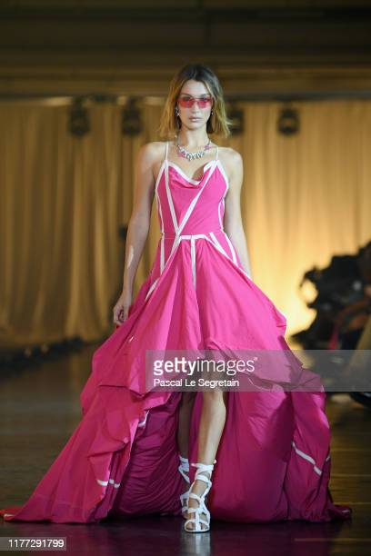 Bella Hadid walks the runway during the OffWhite Womenswear Spring/Summer 2020 show as part of Paris Fashion Week on September 26 2019 in Paris France