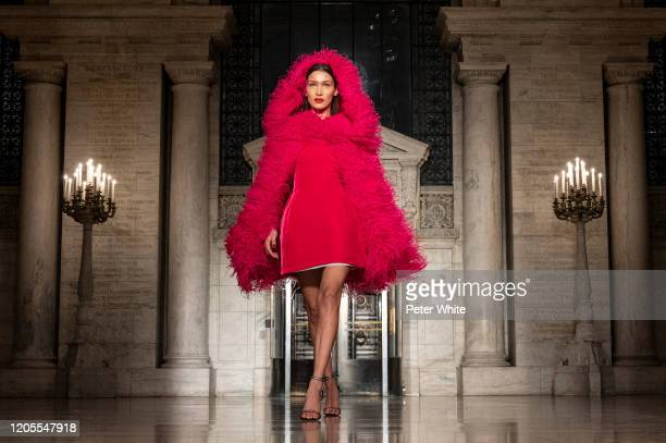 Bella Hadid walks the runway during the Oscar De La Renta Show - February 2020 New York Fashion Week: The Shows at The New York Public Library on...