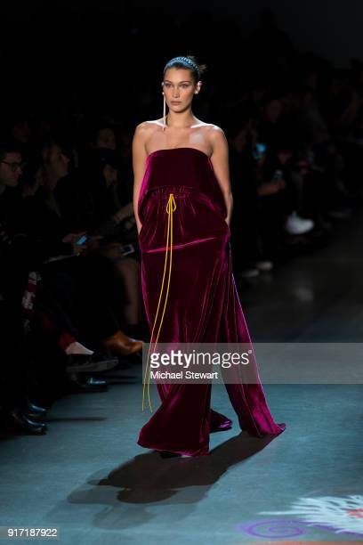 Bella Hadid walks the runway during the Prabal Gurung fashion show during New York Fashion Week at Gallery I at Spring Studios on February 11 2018 in...