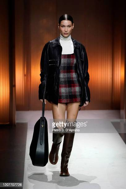 Bella Hadid walks the runway during the Tod's fashion show as part of Milan Fashion Week Fall/Winter 2020-2021 on February 21, 2020 in Milan, Italy.