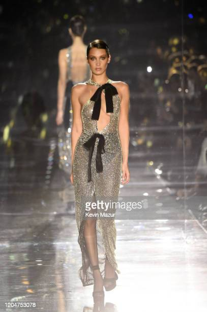 Bella Hadid walks the runway during the Tom Ford AW20 Show at Milk Studios on February 07, 2020 in Hollywood, California.