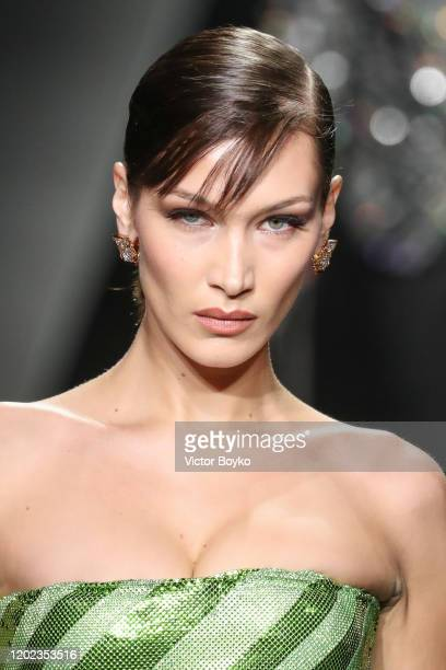 Bella Hadid walks the runway during the Versace fashion show as part of Milan Fashion Week Fall/Winter 2020-2021 on February 21, 2020 in Milan, Italy.