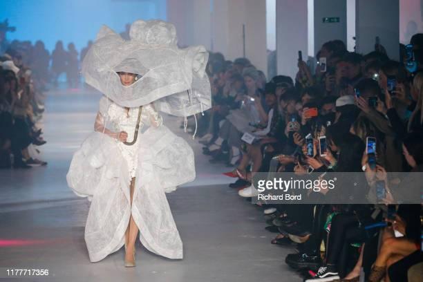 Bella Hadid walks the runway during the Vivienne Westwood Womenswear Spring/Summer 2020 show as part of Paris Fashion Week on September 28, 2019 in...