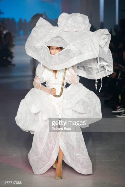 Bella Hadid walks the runway during the Vivienne Westwood Womenswear Spring/Summer 2020 show as part of Paris Fashion Week on September 28 2019 in...