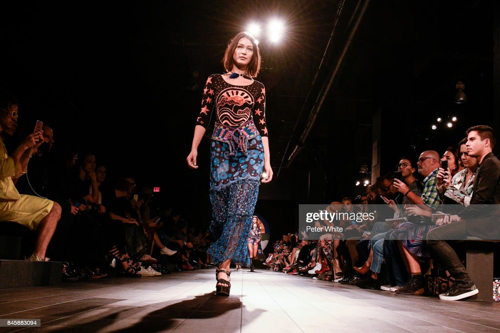 Bella Hadid walks the runway for Anna Sui fashion show during New York Fashion Week: The Shows at Gallery 1, Skylight Clarkson Sq September 11, 2017 in New York City.