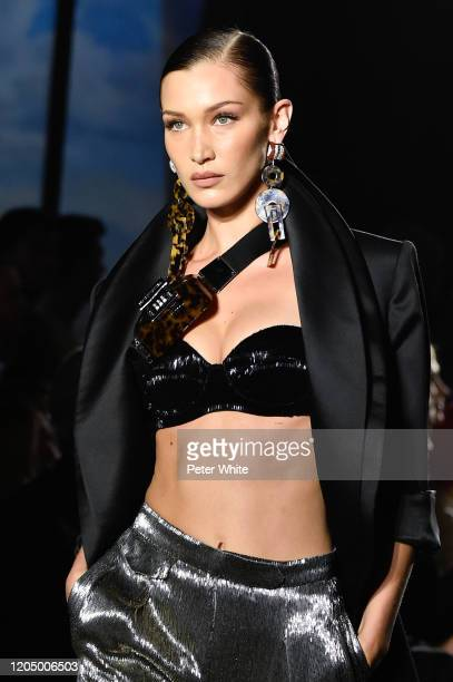 Bella Hadid walks the runway for Brandon Maxwell during New York Fashion Week: The Shows at American Museum of Natural History on February 08, 2020...