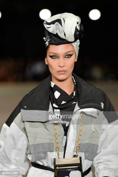 Bella Hadid walks the runway for Marc Jacobs SS18 fashion show during New York Fashion Week at Park Avenue Armory on September 13 2017 in New York...