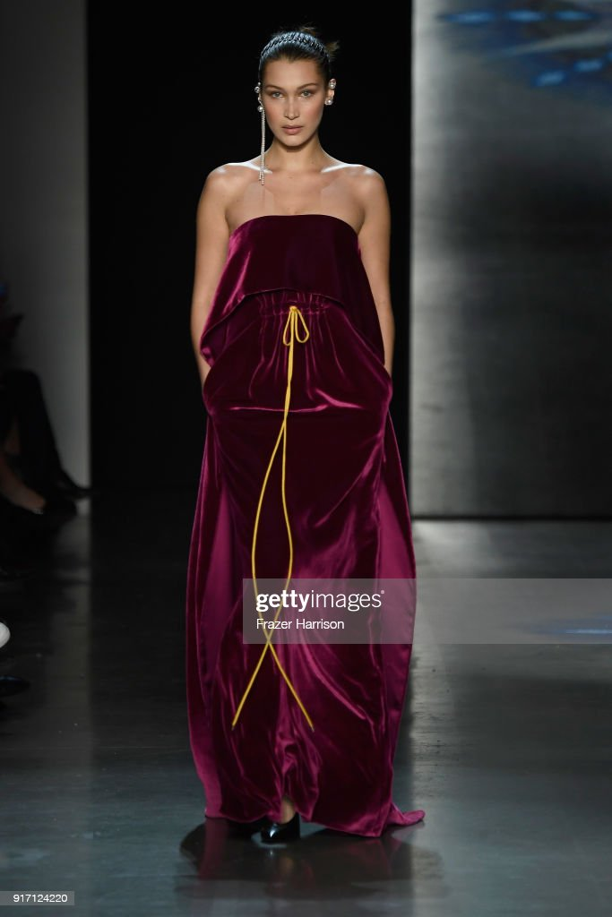 Bella Hadid walks the runway for Prabal Gurung during New York Fashion Week: The Shows at Gallery I at Spring Studios on February 11, 2018 in New York City.