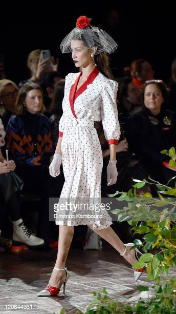 Bella Hadid walks the runway for Rodarte during New York Fashion Week: The Shows at St. Bart's Church on February 11, 2020 in New York City.