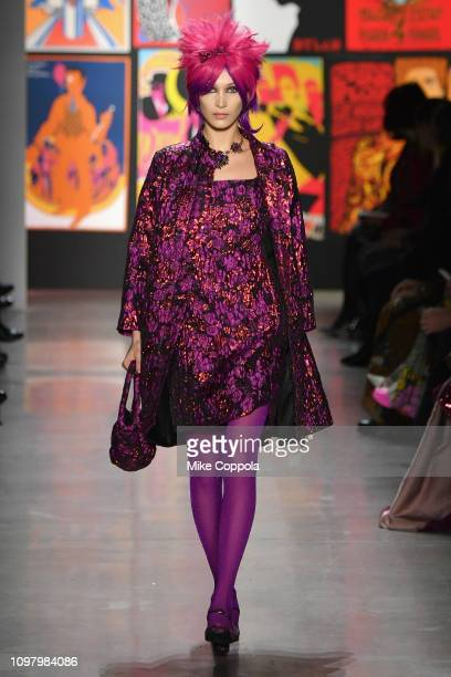 Bella Hadid walks the runway for the Anna Sui fashion show during New York Fashion Week: The Shows at Gallery I at Spring Studios on February 11,...