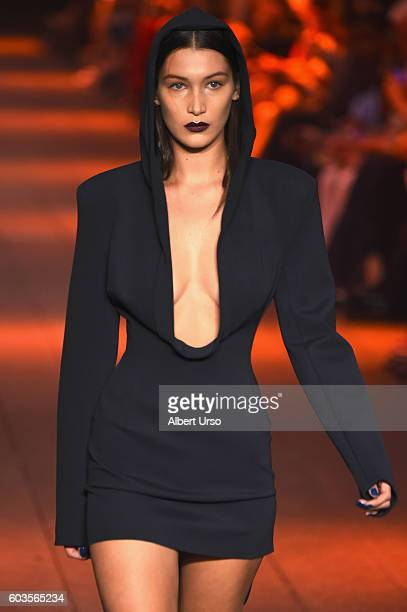 Bella Hadid walks the runway for the DKNY Women fashion show during New York Fashion Week The Shows September 2016 at High Line on September 12 2016...