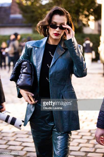 Bella Hadid, wearing a green leather suit, is seen outside Lanvin, during Paris Fashion Week - Womenswear Fall/Winter 2020/2021 : Day Three on...