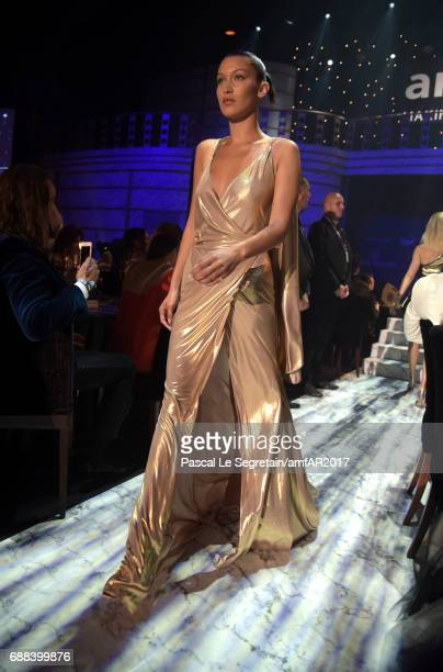Bella Hadid wearing Alexandre Vauthier walks the runway in the fashion show during the amfAR Gala Cannes 2017 at Hotel du CapEdenRoc on May 25 2017...