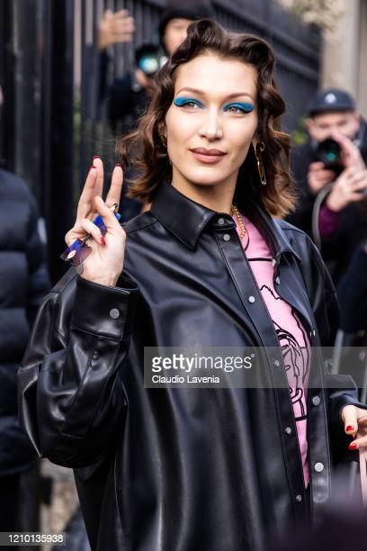 Bella Hadid, wearing black vegan leather jacket and pants, is seen outside Miu Miu during Paris Fashion Week Womenswear Fall/Winter 2020/2021 on...