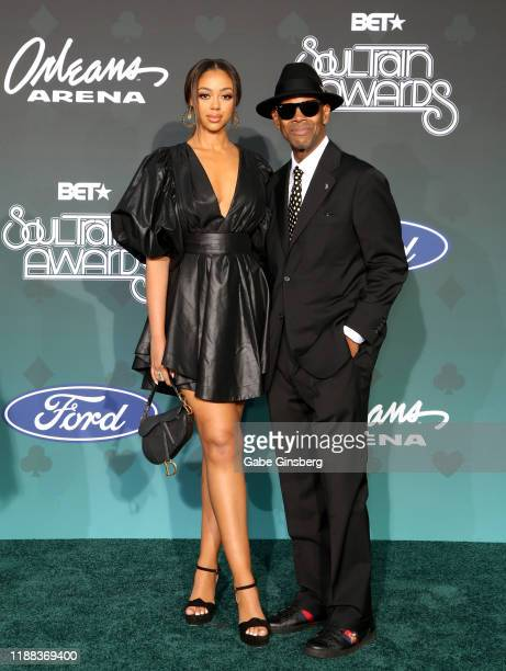 Bella Harris and her father Jimmy Jam attend the 2019 Soul Train Awards at the Orleans Arena on November 17 2019 in Las Vegas Nevada