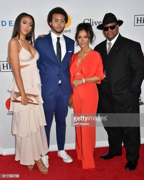 Bella Harris Tyler Harris Lisa Padilla and Jimmy Jam attend the Clive Davis and Recording Academy PreGRAMMY Gala and GRAMMY Salute to Industry Icons...