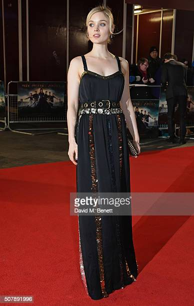"""Bella Heathcote attends the European Premiere of """"Pride And Prejudice And Zombies"""" at the Vue West End on February 1, 2016 in London, England."""