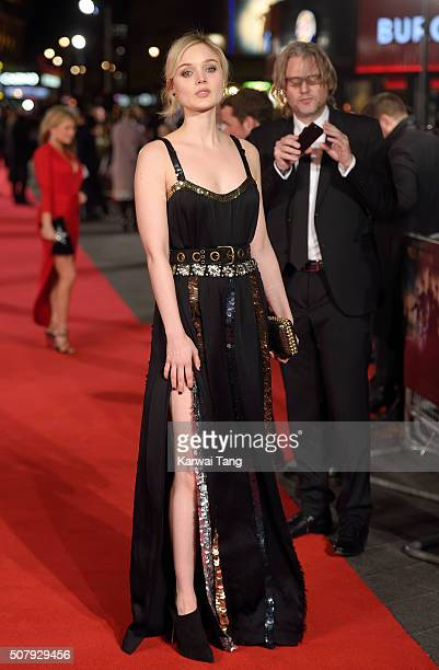 Bella Heathcote attends the European premiere of Pride And Prejudice And Zombies at the Vue West End on February 1 2016 in London England
