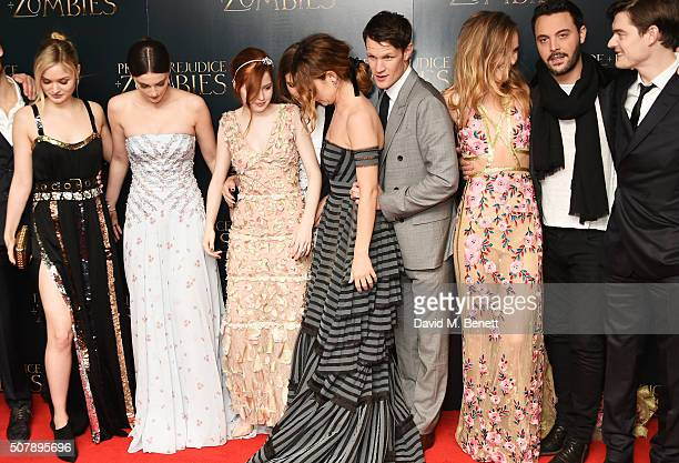 Bella Heathcote Millie Brady Ellie Bamber Hermione Corfield Lily James Matt Smith Suki Waterhouse Jack Huston and Sam Riley attend the European...