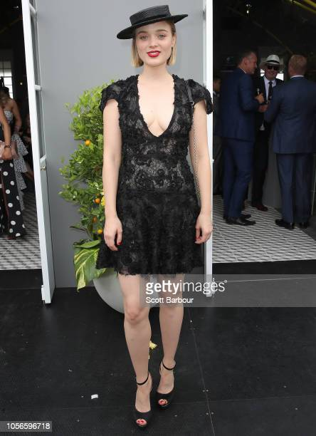 Bella Heathcote poses at the 1 Oliver Street Marquee on Derby Day at Flemington Racecourse on November 3 2018 in Melbourne Australia