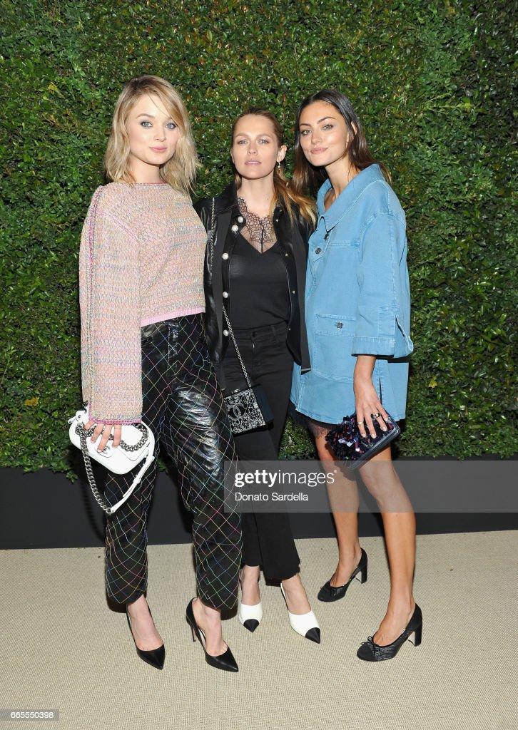 Bella Heathcote, Teresa Palmer and Phoebe Tonkin attend Caroline De Maigret and Pharrell Williams dinner in celebration of CHANEL's Gabrielle Bag at Giorgio Baldi on April 6, 2017 in Santa Monica, California.