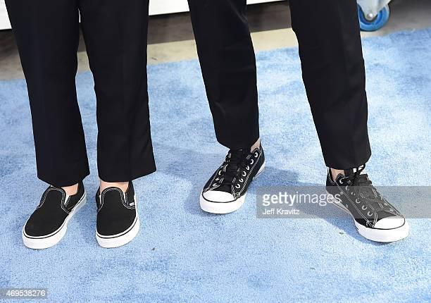 Bella Noche Ruffalo and actor Mark Ruffalo shoe detail attend The 2015 MTV Movie Awards at Nokia Theatre LA Live on April 12 2015 in Los Angeles...