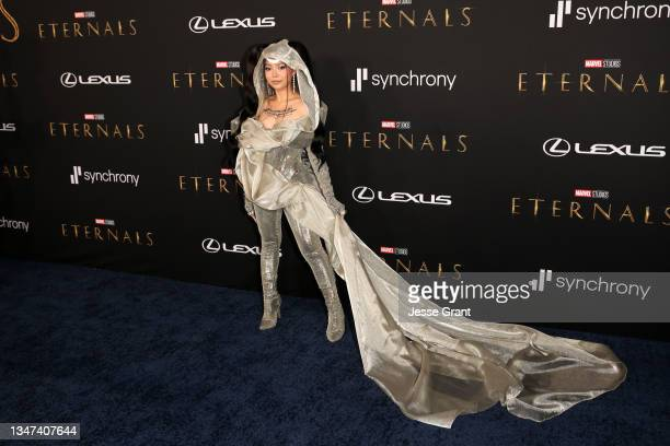 Bella Poarch arrives at the Premiere of Marvel Studios' Eternals on October 18, 2021 in Hollywood, California.