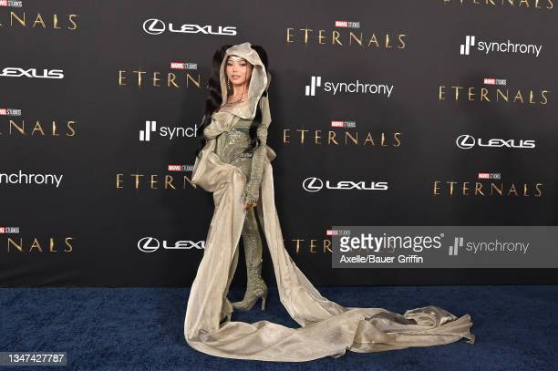 """Bella Poarch attends the Los Angeles Premiere of Marvel Studios' """"Eternals"""" on October 18, 2021 in Los Angeles, California."""