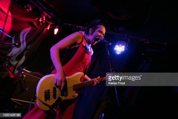 Bella Podpadec of Dream Wife performs at Whelan's on October 17 2018 in Dublin Ireland