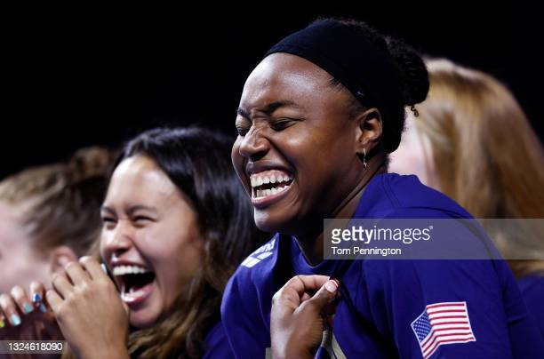 Bella Sims and Simone Manuel of the United States Olympic women's Swimming team react during Day Eight of the 2021 U.S. Olympic Team Swimming Trials...