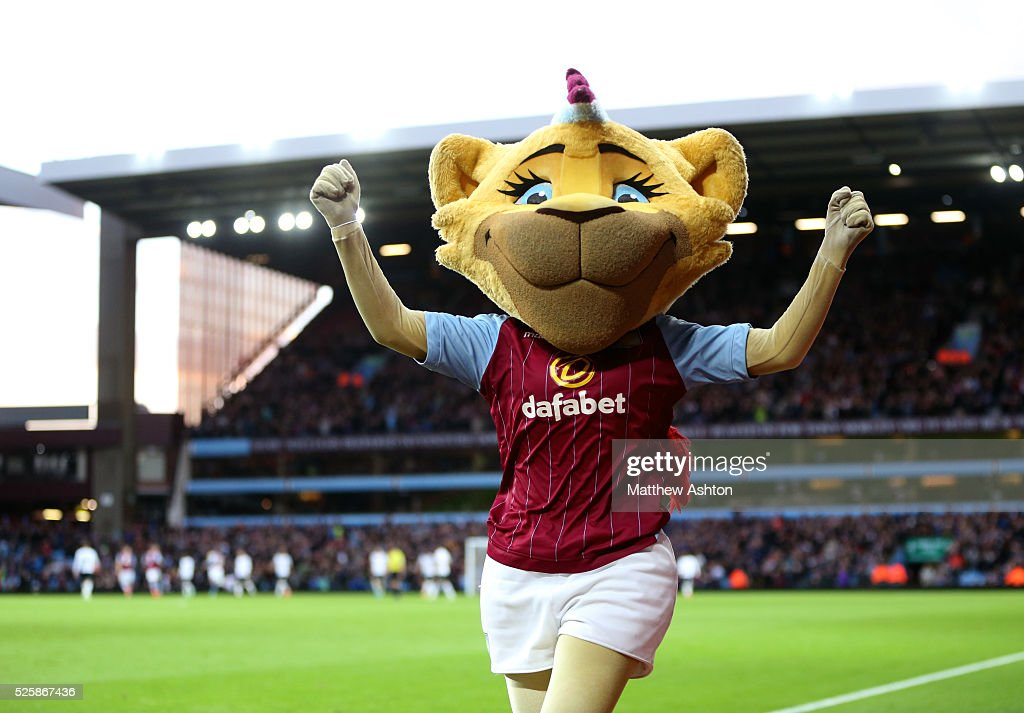 Bella the Lion, mascot of Aston Villa celebrates after Andreas Weimann of Aston Villa scores to make it 1-0