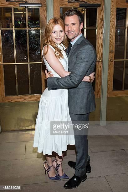 Bella Thorne and Brad Goreski attend the Zac Posen Spring 2016 fashion show during New York Fashion Week at Vanderbilt Hall at Grand Central Terminal...