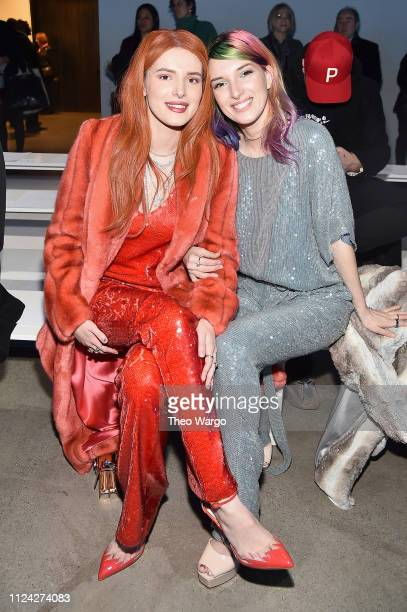 Bella Thorne and Dani Thorne attend the Sally LaPointe front row during New York Fashion Week The Shows at Gallery I at Spring Studios on February 12...