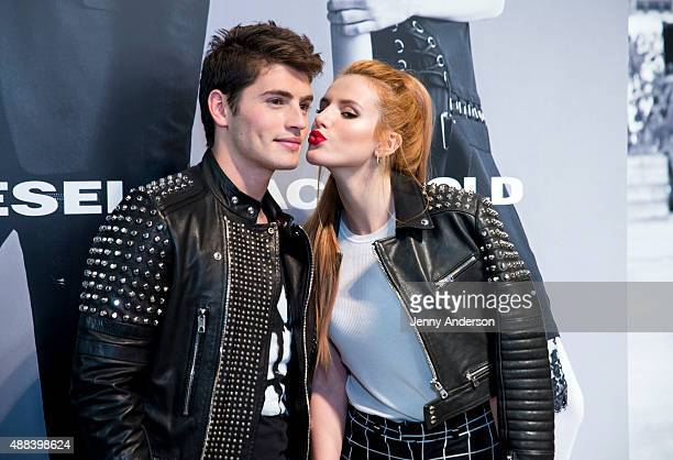 Bella Thorne and Gregg Sulkin attend the Diesel Black Gold fashion show during Spring 2016 New York Fashion Week at Spring Studios on September 15...